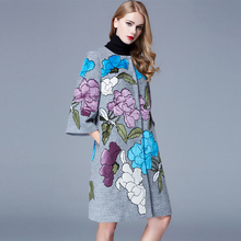 M–2XL Hot!!! 2016 Chinese National Style Heavy Embroidery Applique Flower 3 Quarter Sleeve Woolen Overcoat Loose Outerwear