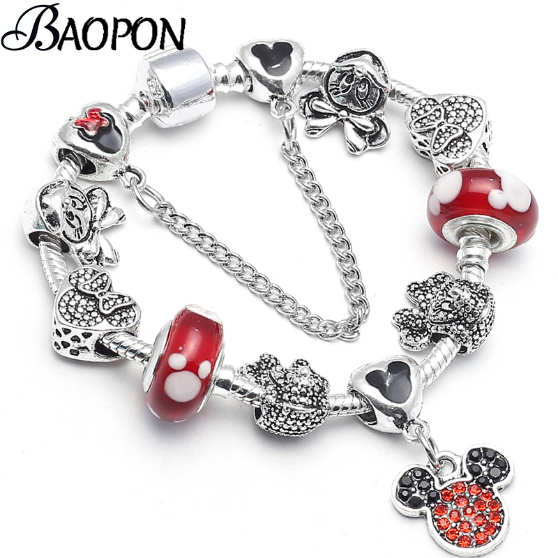 Silver Mickey Minnie Charm Bracelets With Nice Marano Beads Fit Original Fine Bracelet For Kids Special Gift Dropshipping