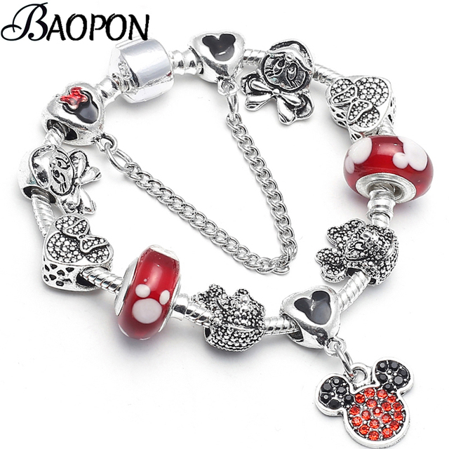 fd859f1c180 US $1.29 25% OFF|BAOPON Dropshipping Mickey Minnie Charm Bracelet With Nice  Marano Beads Fit Original Fine Bracelet For Kids Special Gift-in Chain & ...