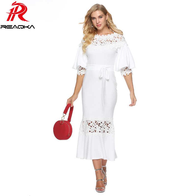 88571bab72 2018 Autumn Winter White Elegant Maxi Dress Women Lantern Half Sleeve Lace  Patchwork Hollow Out Sundress