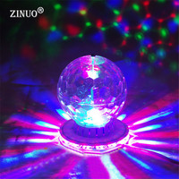 Mini RGB Crystal Magic Ball Effect Light Auto Rotating Bulbs LED Disco Party KTV Disco DJ