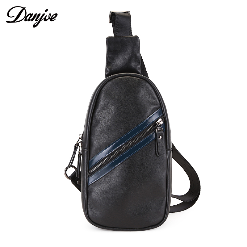DANJUE Genuine Leather Black Men Chest Pack Mens Sling Shoulder Bag Single Messenger Crossbody Bags For Male New Fashion Brand все цены