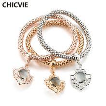 Chicvie оптовые три цвета пользовательские полые шармы браслеты