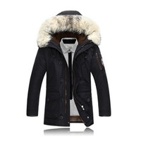 2017 Fashion new arrival men's thick warm winter coat fur collar men Hoodie Casual Jacket Coat