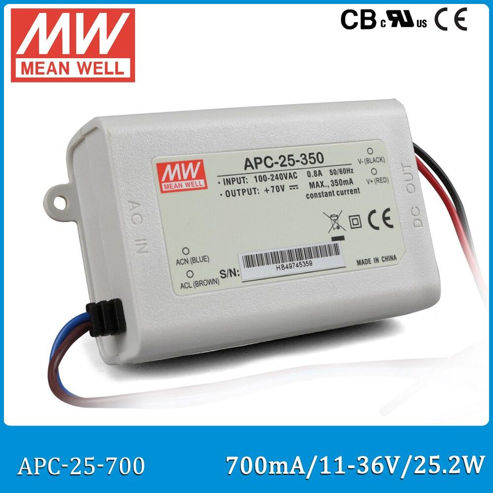 Original Meanwell LED drive APC-25-700 single output 25.2W 11~36V 700mA Mean well LED power supply APC-25 IP42 mean well apc 25 600 waterproof ip67 25w power supply grayish white 100 240v