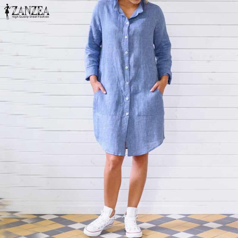 2018 ZANZEA Streetwear Autumn Women Dress Casual Ladies Solid Long Sleeve Stand Collar Pockets Shirt Dress Vestidos Plus Size