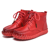 2017 Handmade Sewing Lace-UP Zipper Genuine Leather Ankle Women Boots Ladies Spring Autumn Leisure Shoes Woman Chaussure Femme