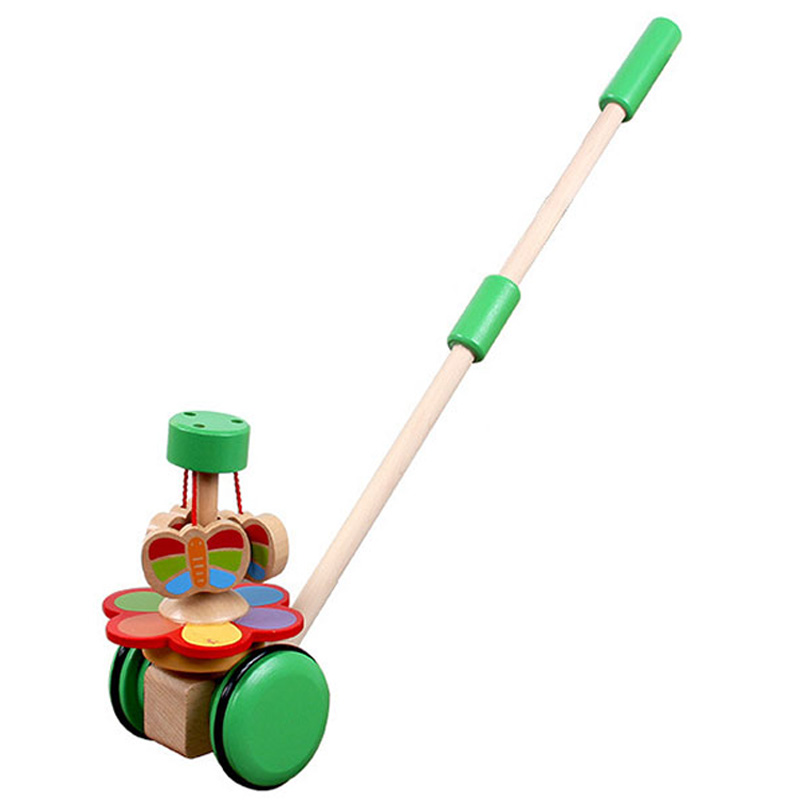 Kids Wooden Toys Baby Walker Baby First Steps Car Toddler Trolley Single Rod Stroller Cartoon Animals Pushing Car Toy