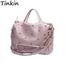 Tinkin New Arrival Large Women Shoulder Bag Fashion Printing Cherry Bag Candy Color Tote With Long Belt Cute Messenger Bag