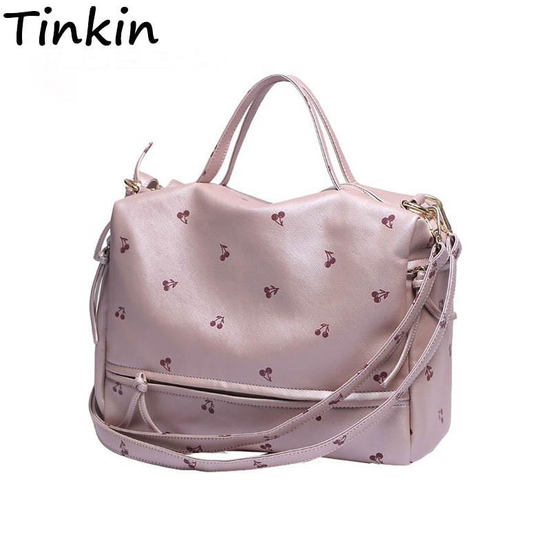 Tinkin New Arrival Large Women Shoulder Bag Fashion Printing Cherry Bag Candy Color Tote With Long Belt Cute Messenger Bag trendy zippers and candy color design women s tote bag