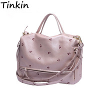 INLEELA New Arrival Large Women Shoulder Bag Fashion Printing Cherry Bag Candy Color Women Tote With