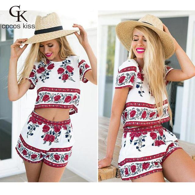 2016 New Summer Style Casual 2 Pieces Set Dress Women's O-neck short sleeve Printing shorts Suit Beach Wear vestidos Hot