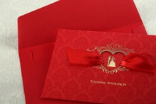 Free Shipping CW1041 Customized Printing Elegant Red Wedding Invitation Card 100 PCS