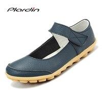 Plardin 2018 Plus Size Genuine Leather Shoes Flat Shallow Ankle Strap Women Shoes Ballet Flats Women