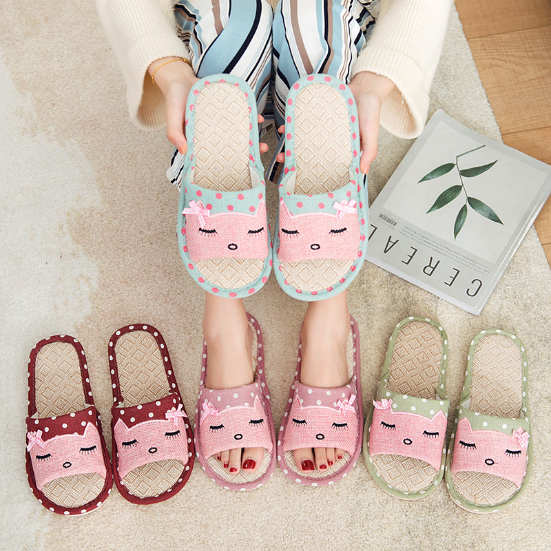 Women's Summer Home Slippers Indoor Home Children's Lovers Home Skid-proof Cotton Flax Slippers Male Skid-proof Thick Bottom