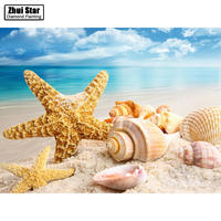 Needlework Diamond Embroidery Sea Shell Starfish Scenery Diamond Painting Icon Rhinestone Square Diamond Home Decoration ZS