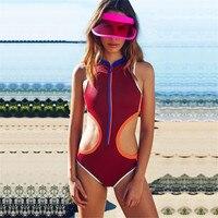 2018 One Piece Swimwear Women Swimsuit Zipper Retro Print Push Up Bathing Suit Beach Bikini Vintage Biquini Female hollow out