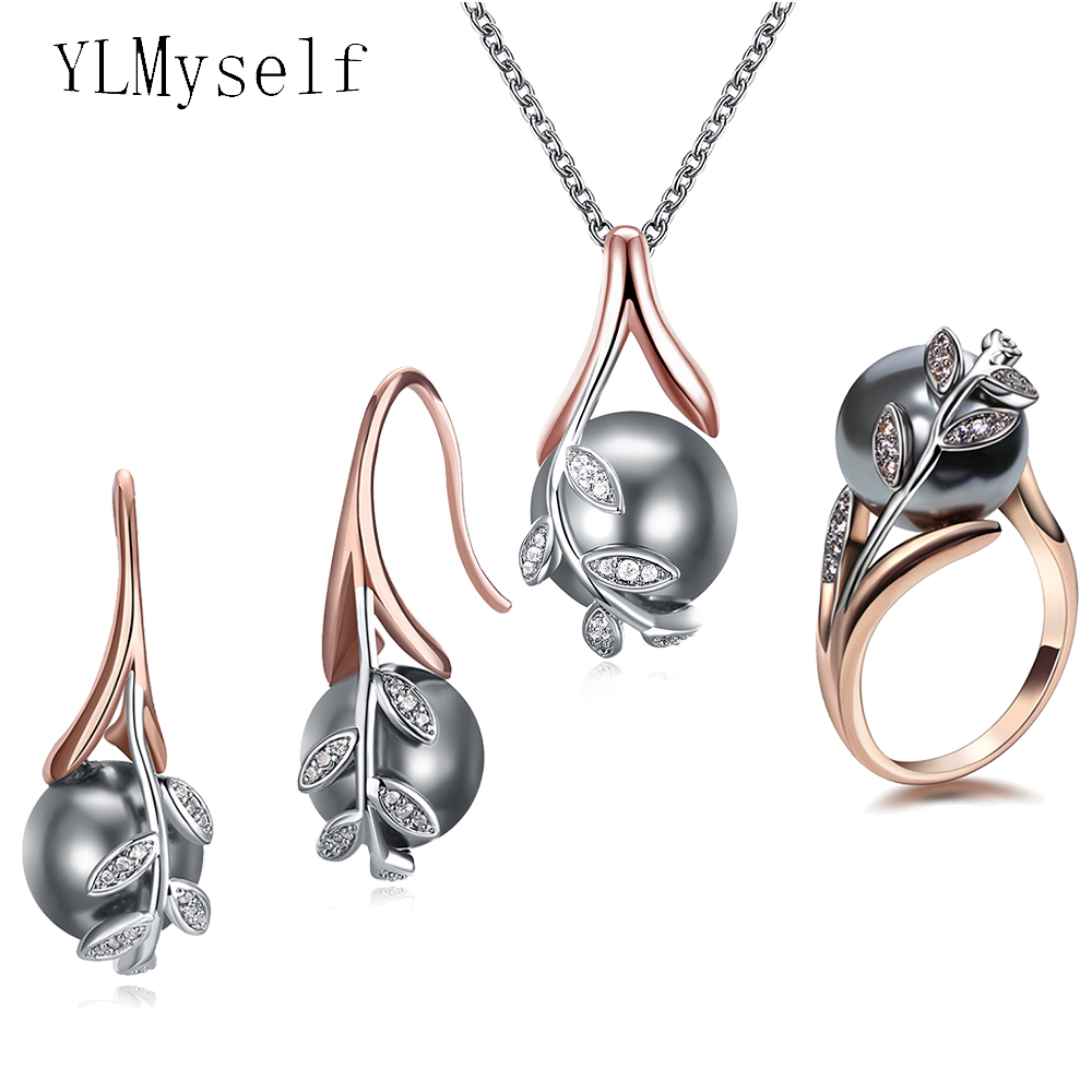 Big discount sale Pendant Necklace Earrings ring 3pcs sets Rose gold plate Grey pearl & cubic zircon Trendy leaf jewelry set(China)
