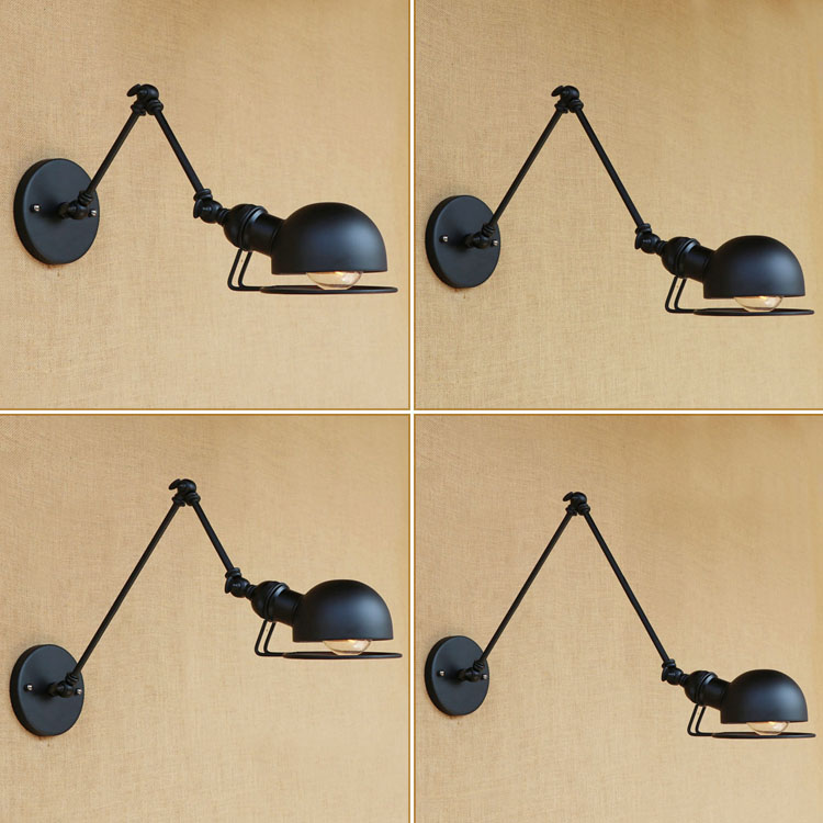 IWHD Industrial adjustable long swing Arm Black Iron Wall light Fixtures Sconces Loft Vintage Edison Bulb E27 lamparas de pared iwhd loft style creative retro wheels droplight edison industrial vintage pendant light fixtures iron led hanging lamp lighting