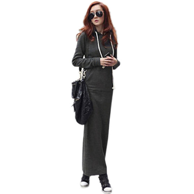 2017 Spring Autumn New Sexy Fashion Ladies Long Thicken Dress Warm Fur Fleece Hooded Long Sleeved Slim Maxi Dresses Plus Size