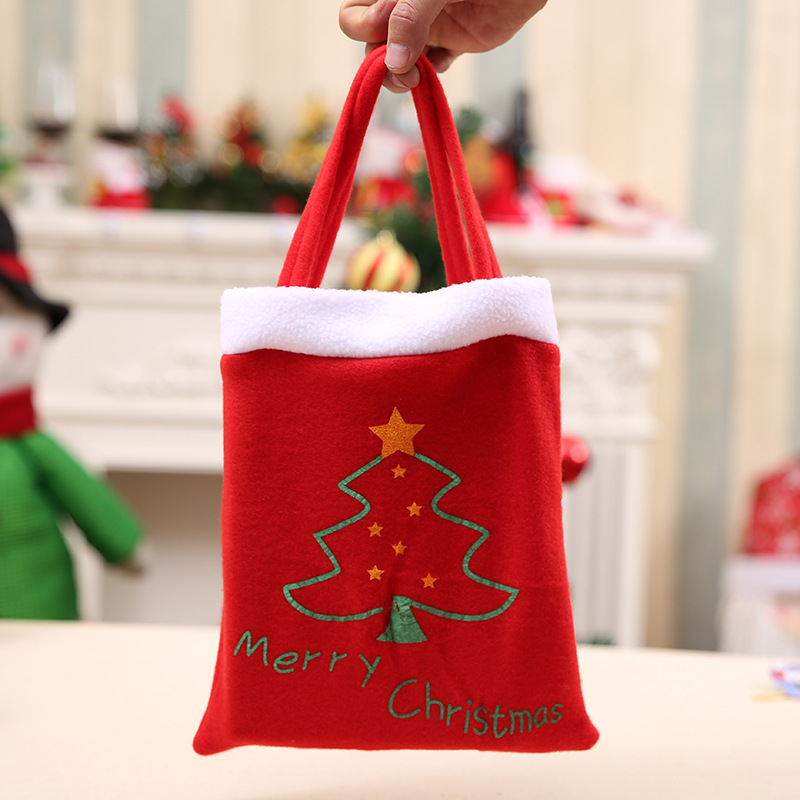 1PC Red Christmas Tree Gift Bag Xmas Candy Apple Food Holder Christmas Shopping Handbag Merry Christmas Party Decoration Favors