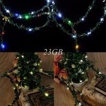 10 м 100 Гирлянды светодиодные свет Водонепроницаемый листьев гирлянда Солнечная Мощность Медный провод Фея Рождество Свадебный декор J24