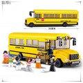 SLUBAN Школьный автобус 392 шт. узнать и образование DIY Игрушки совместимость с Legoe просветить строительные блоки Кирпичи для игрушки ребенка 0506