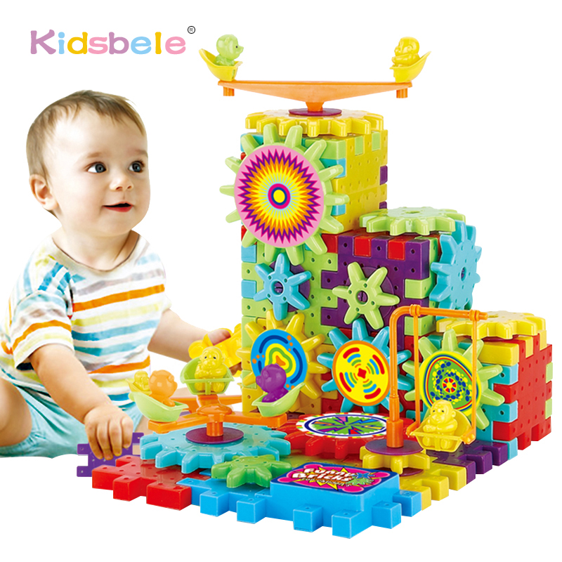 81PCS 3D Puzzle Building Kits Plastic Electric Gears Bricks Educational Toys For Kids Children Funny Gifts