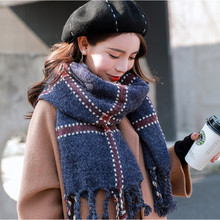 TieSet Luxury Brand Scarf 2018 Femal Rabbit Fur Cashmere Plaid Winter Warm Scarf Pashmina Tassels Women Wrap Shawl Student TS-12