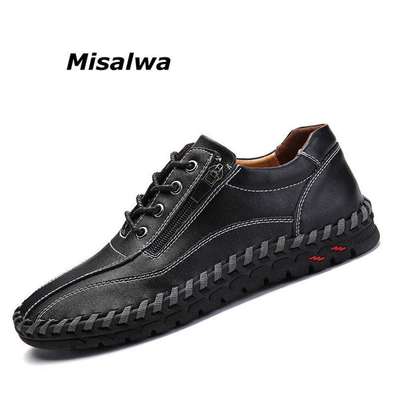 Misalwa Young s Classic Style Men Casual Shoes 2019 Spring Black Split Leather Flaty Shoes Zipper