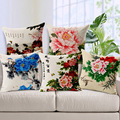 Wholesale and retail 18in*18in Cushion cover Rich flowers blossom peonies linen/cotton decorative pillow cover seat pillow case