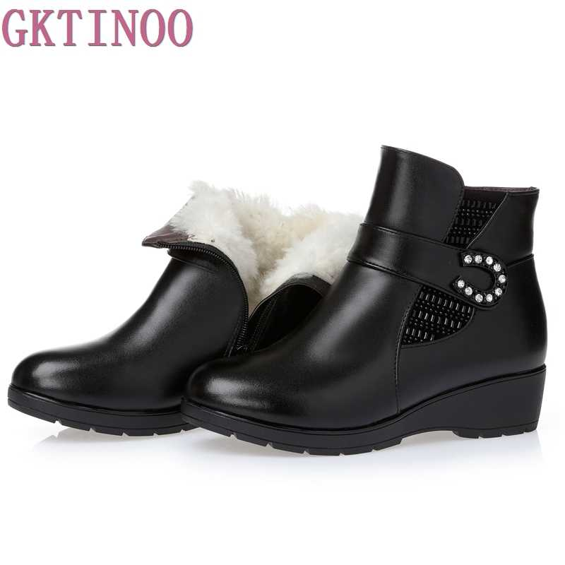 בתוספת גודל (35-43) חורף נשים טריזי עור אמיתי שלג מגפי צמר פרווה קרסול מגפיים חמים נעלי נשים מגפיים