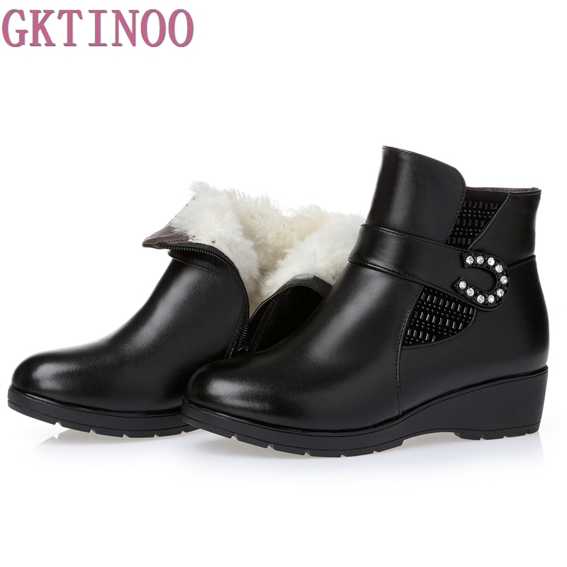 Plus size(35 43) winter women genuine leather wedges snow boots wool fur ankle boots warm shoes women boots