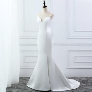 Image 2 - E 覚 SHUNG 白シンプルな夏のマーメイドウェディングドレス V ネックスパゲッティ背中自由奔放に生きるウェディングドレスローブ · デ · マリアージュ