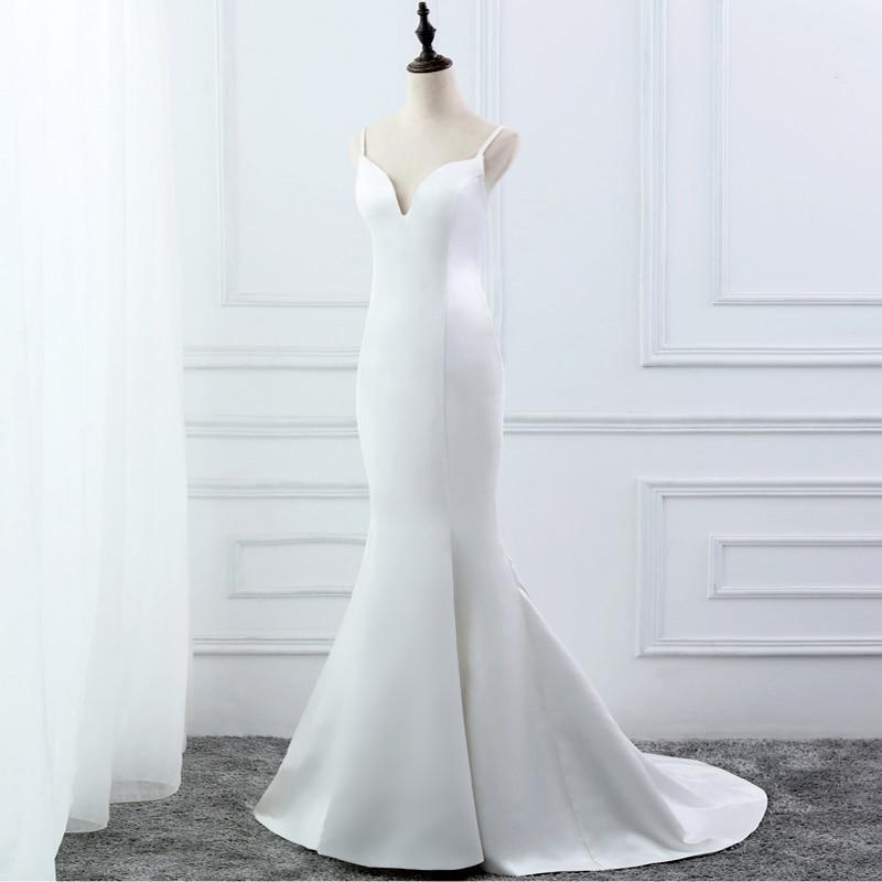 Image 2 - E jue shung branco simples verão sereia vestidos de casamento v  neck cintas de espaguete backless boho vestidos de casamento robe de  mariageVestidos de Noiva