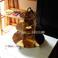 3 Tire Luxurious Gold Cup Cake Stand Shelf For Wedding Party Birthday Party Cake Stand Decorations