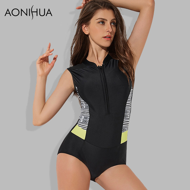 08b250ff99769 AONIHUA 2018 Sport Women One Piece Swimsuit Push up sleeveless Bodysuit  female Front zipper Surfing swimming suit Rash Guards