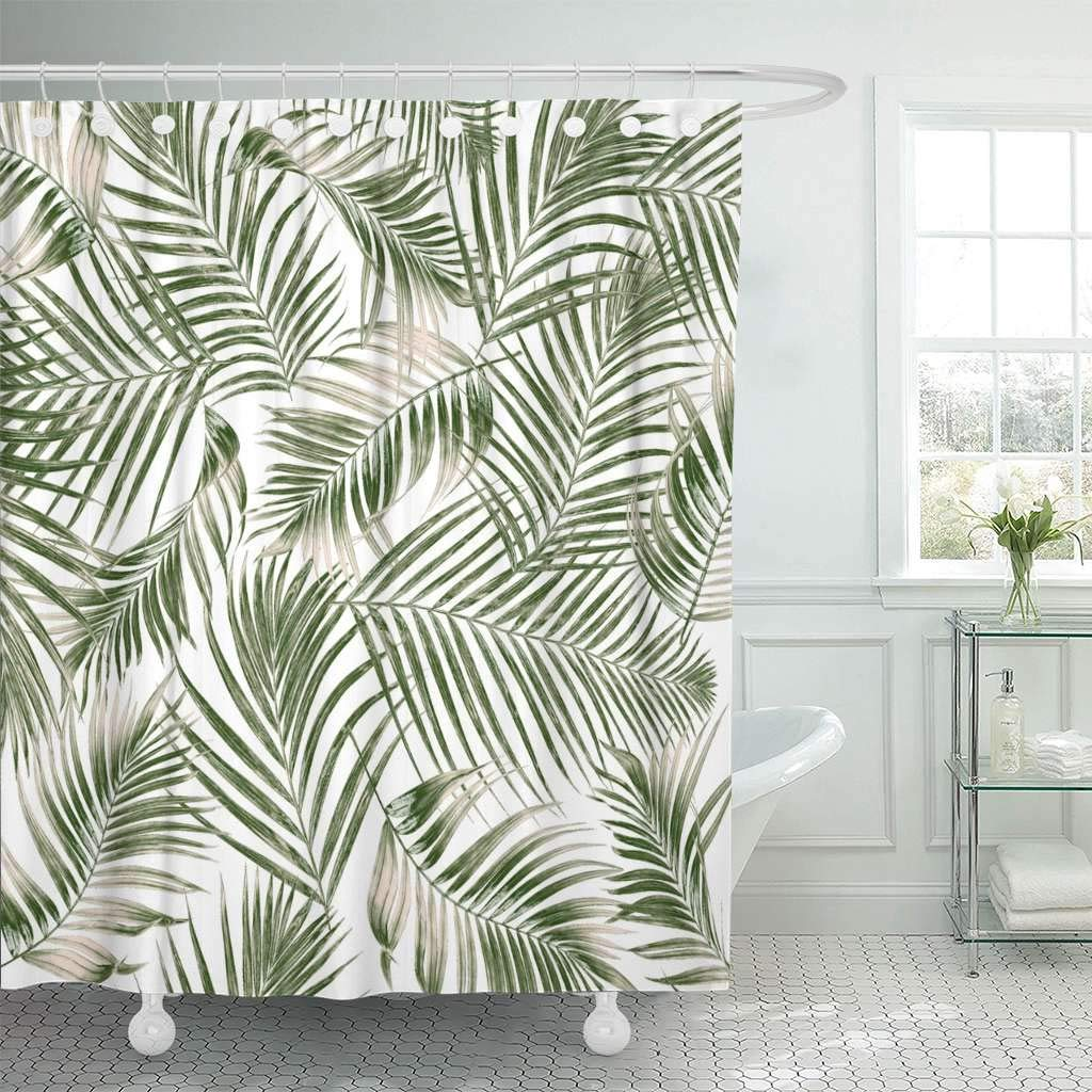 Us 18 73 25 Off Fabric Shower Curtain Hooks Leaf Green Leaves Palm Tree On White Tropical Foliage Coconut Delicate Abstract Arch In Shower Curtains