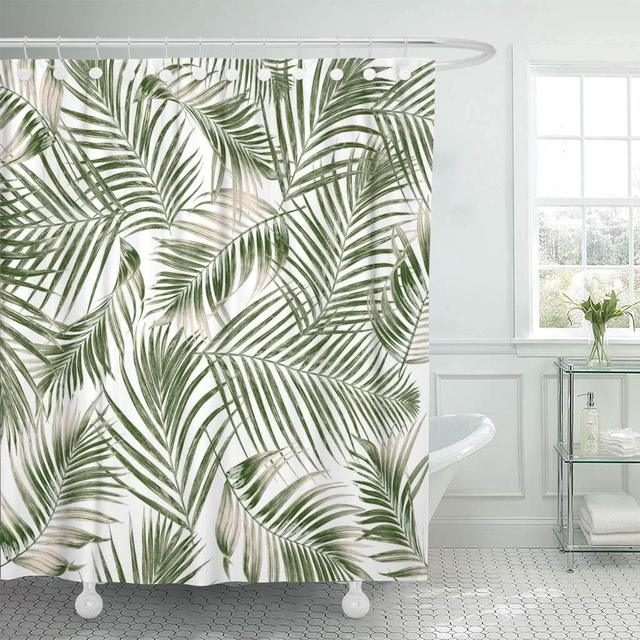 Fabric Shower Curtain Hooks Leaf Green Leaves Palm Tree On White Tropical Foliage Coconut Delicate Abstract Arch In Curtains From Home Garden