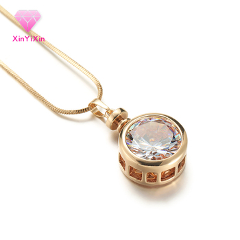 CZ Big Round Pendant Necklace Women GoldSilverRose Gold Round Snake Chain Ladies Pendant Necklace Crystal Jewelry Gifts