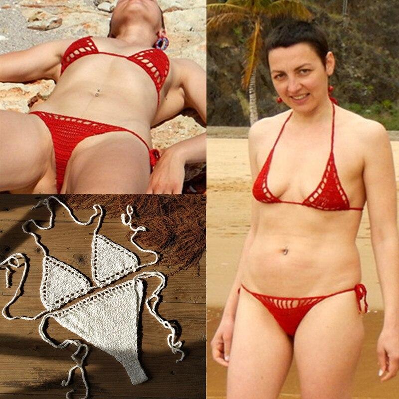 4 Color Hand Crochet Hot Bikini Red Women Sexy Micro Swimwear Beach Sunbathing Lingerie Set
