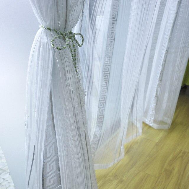 Grau Silber Tüll Für Wohnzimmer Schlafzimmer Modernen Chinesischen  Geometrische Muster Garn Gefärbt Hause Fenster Vorhang Voile Vorhänge  Wp239 40