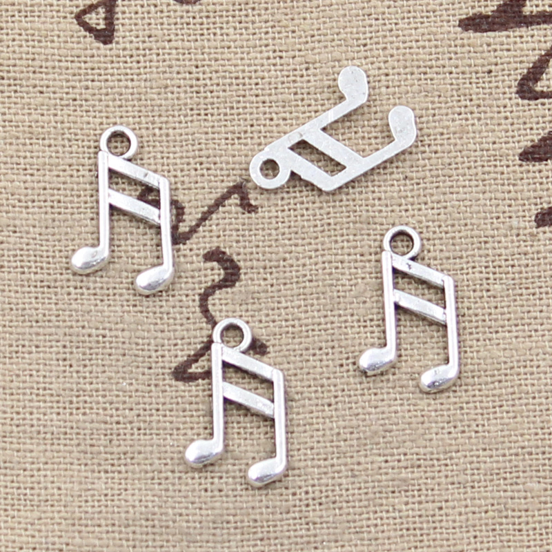 30pcs Charms lovely musical note 13x8mm Antique Tibetan Silver Pendant Findings Accessories DIY Vintage Choker Necklace