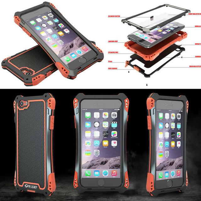I7 vida waterproof case de alumínio à prova de choque case capa para iphone 7 7 plus + gorilla de vidro temperado