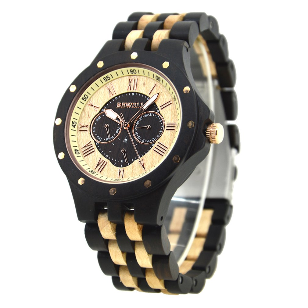 BEWELL High Quality Wooden Waterproof Quartz Watches For Men Fashion Casual Bussiness Quartz Wrist Moment Watches