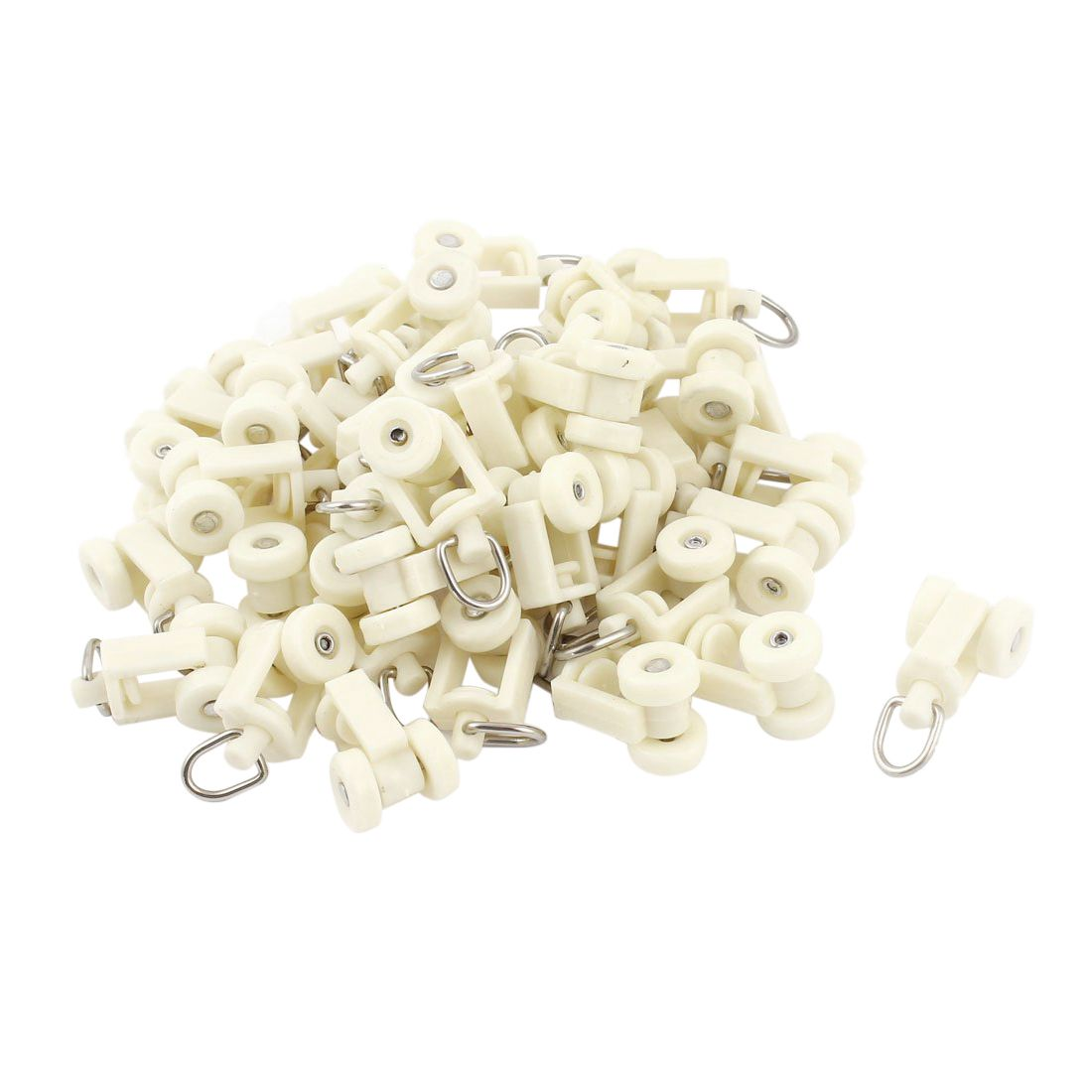 Hot Sale Plastic White Rail Curtain Rollers 12mm Diameter Wheel 40 pcs