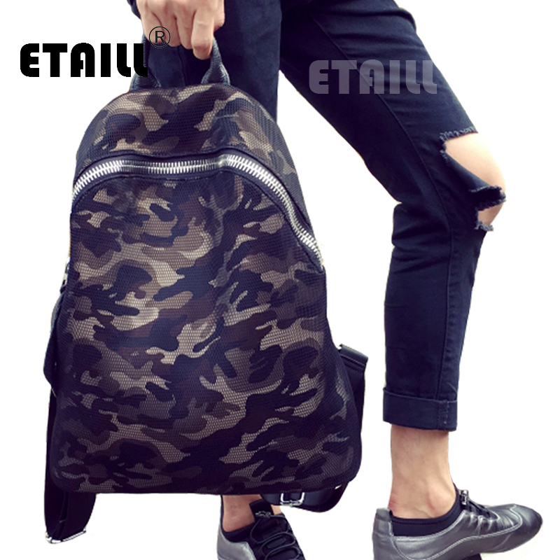 2016 Nylon Camouflage Backpack Men Preppy Style Casual Daypacks Vintage Travel Laptop School Bag Bagpack Black