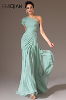 New Turquoise One Shoulder Short Sleeve Hand Made Flowers Beaded Formal Prom Dresses