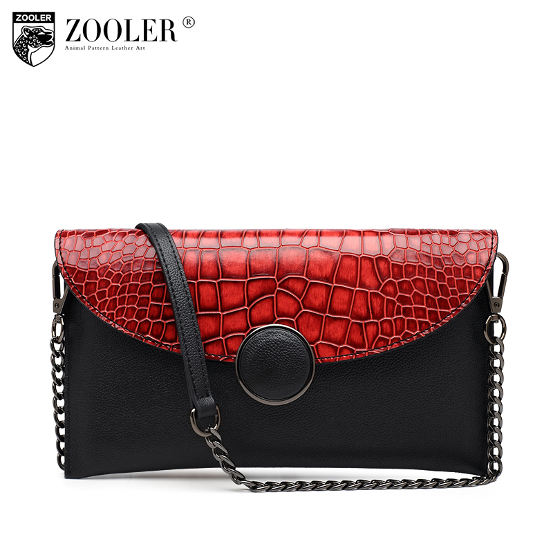 Limited& hot -ZOOLER Genuine leather bag woman top cowhide and Envelope leather shoulder bag Evening bags woman Clutch Z116