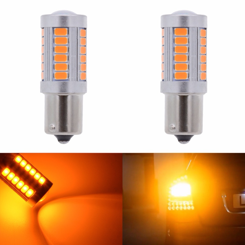 Katur 2 pièces 1156 BAU15S PY21W 7507 ampoule LED pour voitures clignotants lumières ambre/Orange éclairage blanc rouge bleu 5630 33SMD